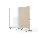 "Ghent-NEX224MFP-90 - 76.13""x52.38"" Nexus Partition-2-Sided Mobile Porcelain Magn WB/ Fabric TB Beige"