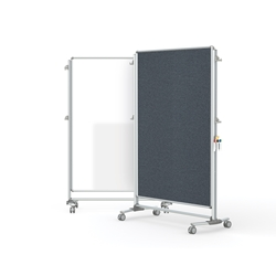 "Ghent-NEX224MFP-91 - 76.13"" x 52.38"" Nexus Partition-2-Sided Mobile Porcelain Magn WB/Fabric TB Gray"