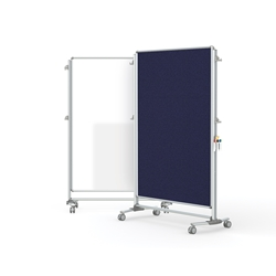 "Ghent-NEX224MFP-93 - 76.13"" x 52.38"" Nexus Partition-2-Sided Mobile Porcelain Magn WB/Fabric TB Blue"