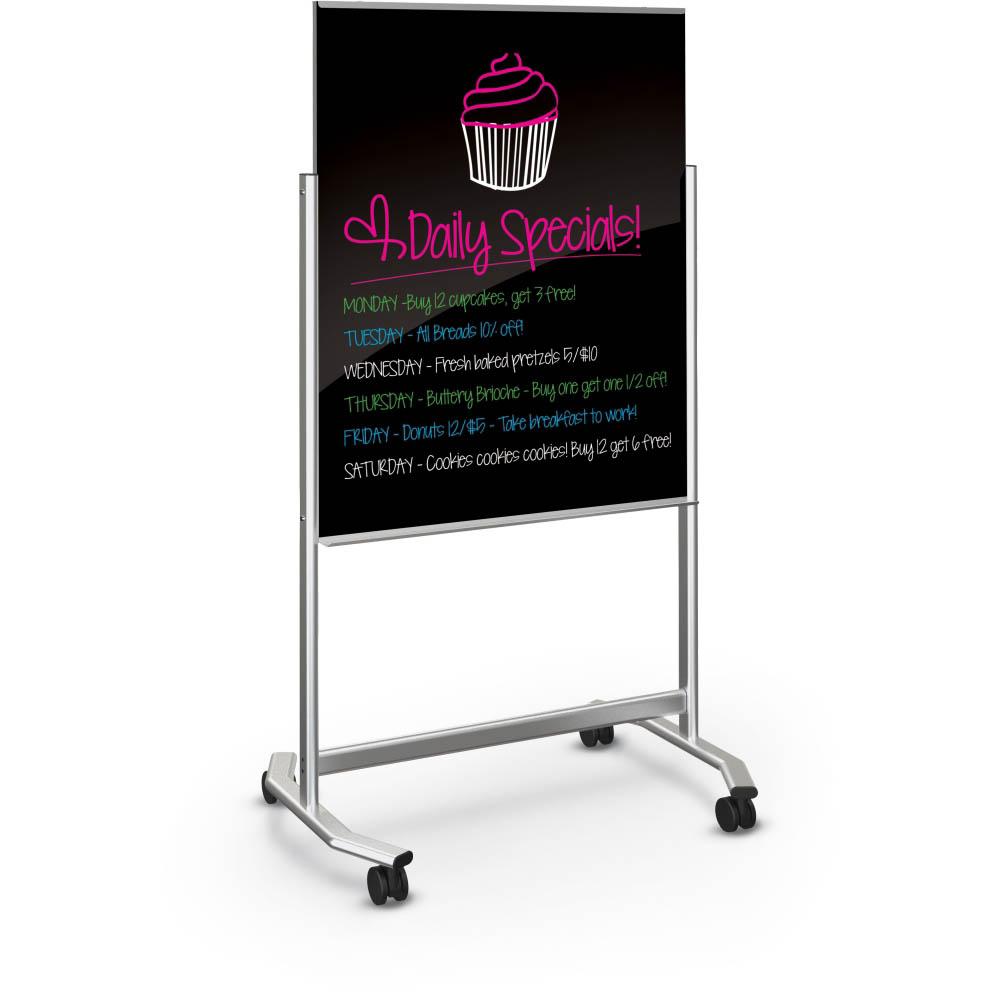 balt 74950 b visionary move mobile black glass whiteboard 3x4