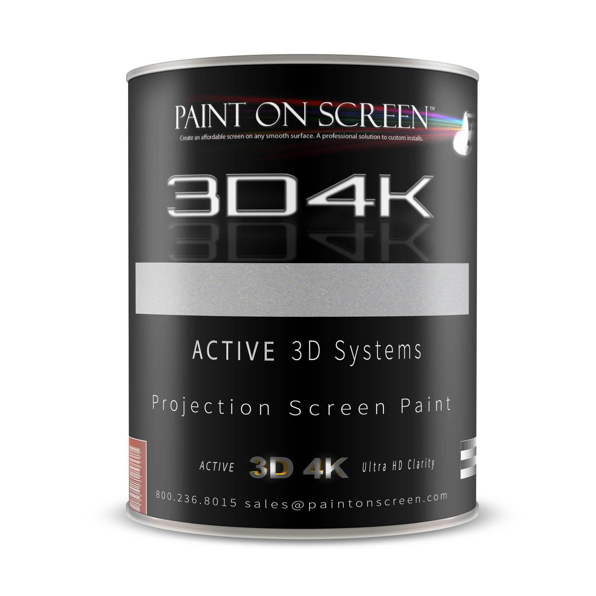 Projector Screen Paint - 3D4K Brilliant Silver with 3.8 Gain -HD 1080P,3D Capable and 4K Ready-Quart